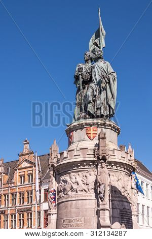 Bruges, Flanders, Belgium -  June 17, 2019: Green Bronze Statue Of Jan Breydel And Pieter De Coninck