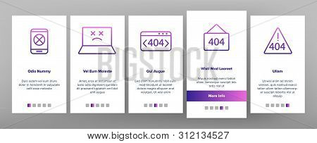 Color 404 Http Error Message Vector Onboarding Mobile App Page Screen. 404 Page Not Found Outline Sy