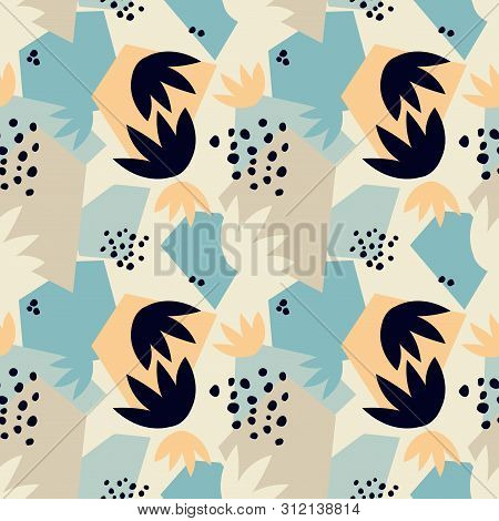 Contemporary seamless pattern ith abstract geometric shapes and floral leaves. Avant-garde modern collage style. poster