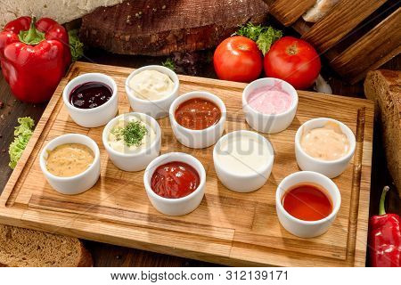 Assorted Sauces: Ketchup, Perigueux, Lesser, Soy Sauce, Pesto, Berry Sauce, Dijon, Bechamel In White