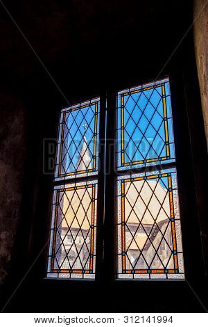 Hunedoara, Romania - August 31, 2017: Interior Window View At The Corvin Castle, Also Known As Hunya