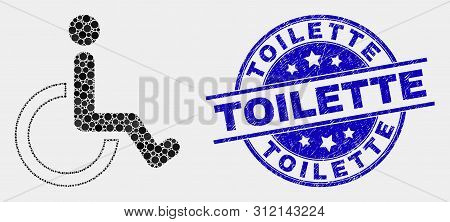 Dotted Wheelchair Mosaic Pictogram And Toilette Seal. Blue Vector Rounded Grunge Seal Stamp With Toi