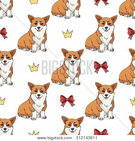 Seamless Pattern With Cute Pembroke Welsh Corgi And Doodles On White Background. Endless Texture Wit
