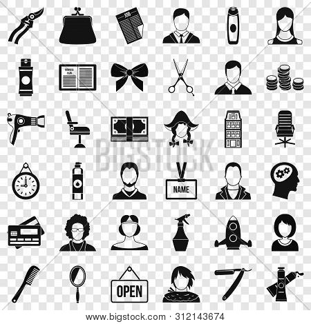 Hairdresser Icons Set. Simple Style Of 36 Hairdresser Vector Icons For Web For Any Design
