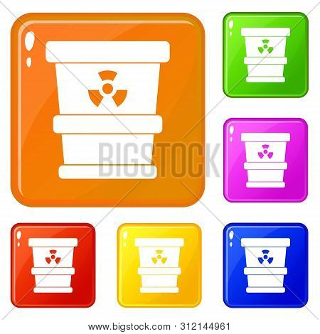 Trashcan Containing Radioactive Waste Icons Set Collection Vector 6 Color Isolated On White Backgrou
