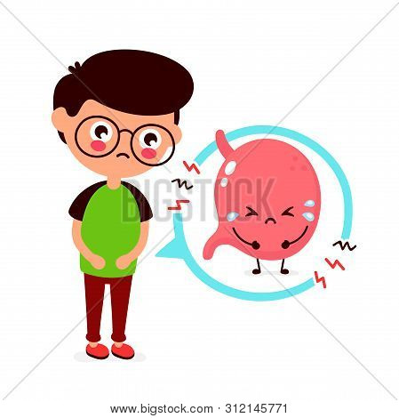 Sad Sick Young Man With Food Poisoning Stomach Character. Vector Flat Cartoon Illustration Icon Desi