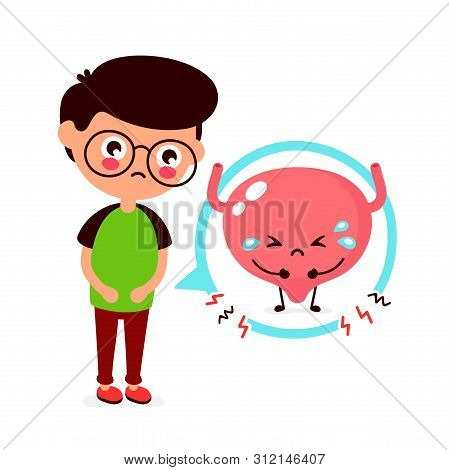 Sad Sick Young Man With Pain In Bladder Character. Vector Flat Cartoon Illustration Icon Design. Iso