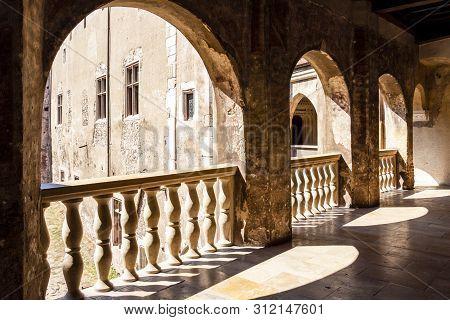 Hunedoara, Romania - August 31, 2017: Upper Level Balcony At The Corvin Castle, Also Known As Hunyad