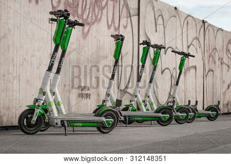 Berlin, Germany - June, 2019: Electric E Scooter , Escooter Or E-scooter Of The Ride Sharing Company
