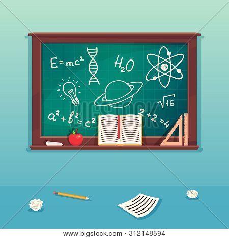 Class Blackboard With Chalk Piece And School Supplies. Blackboard For School, Chalkboard For Classro