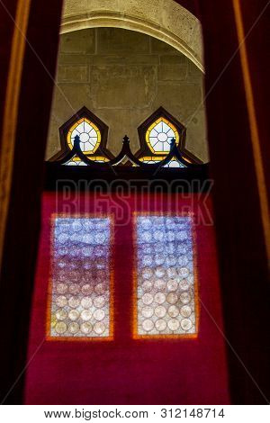 Hunedoara, Romania - August 31, 2017: Abstract Image Of A Beautiful Decorated Window Behind A Screen