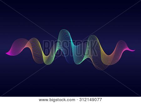 Abstract Wavy Lines Surface With Rainbow Color On Dark Blue Background. Soundwave Of Gradient Lines.