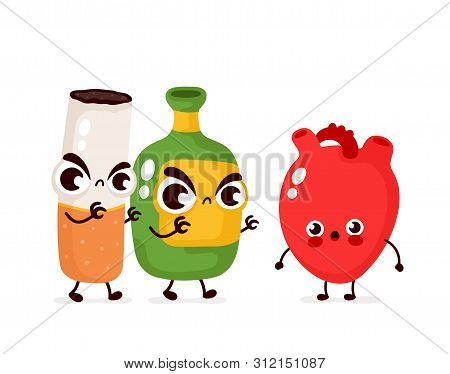 Angry Scary Alcohol Bottle And Cigarette Kill Heart Character. Vector Flat Cartoon Illustration Icon