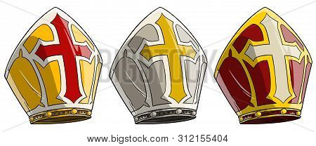 Cartoon Catholic Bishop Mitre With Cross. Pope Crown Hat. Isolated On White Background. Vector Icon
