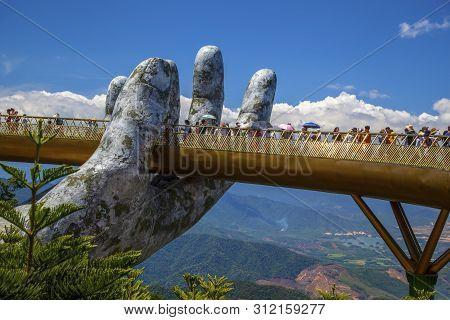 Danang, Vietnam- June 27, 2019:the Golden Bridge  Tourist Resort On Ba Na Hill In Danang, Vietnam.