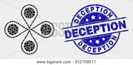 Dotted Map Markers Mosaic Pictogram And Deception Stamp. Blue Vector Rounded Scratched Seal Stamp Wi