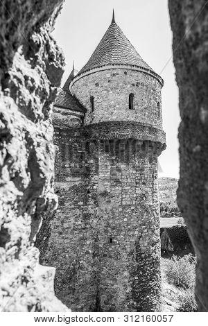 Turnul Tobosarilor Or Tobosarilor Tower Black And White View At The Corvin Castle, Hunyadi Castle Or
