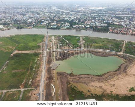 Saigon, Vietnam - Jul 6, 2019. Aerial View Of Saigon (called Ho Chi Minh City), Vietnam. Saigon Popu