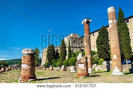 Forense Roman Basilica And San Giusto Castle In Trieste, Italy