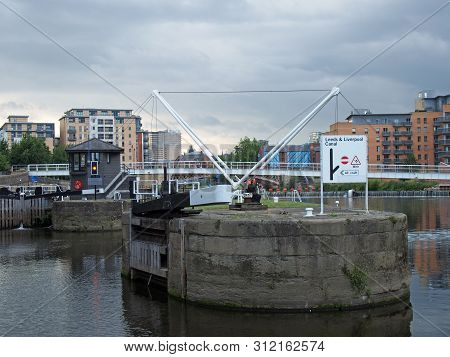 Leeds, West Yorkshire, United Kingdom - 10 July 2019: The Lock Gates On The Leeds And Liverpool Cana