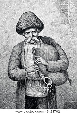 Old Caucasian. Engraving by Angerer  from picture by Obolensky. Published in magazine
