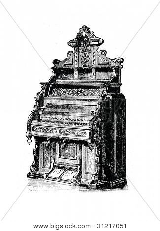 American harmonium. Engraving by  Angerer. Published in magazine