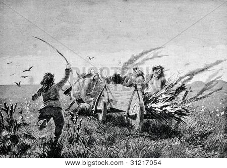 """The execution of a sorcerer of the ancient Scythians. Engraving by Shyubler  from picture by painter Klodt. Published in magazine """"Niva"""", publishing house A.F. Marx, St. Petersburg, Russia, 1888"""