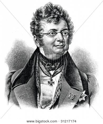 Dmitry Knyazhevich - the trustee of the Odessa school district (Ukraine). Engraving by Shyubler. Published in magazine