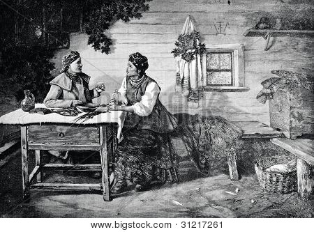 The festive conversation. Engraving by Berg and Pupp from picture by Trutovsky. Published in magazine