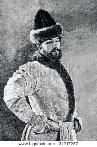 Russian boyar. Engraving by Olszewski from picture by  Demchinsky. Published in magazine