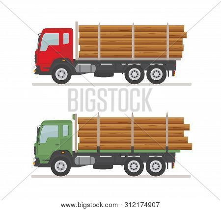 Two Logging Trucks On The Road. Isolated On White Background. Wood Production And Forestry. Vector I