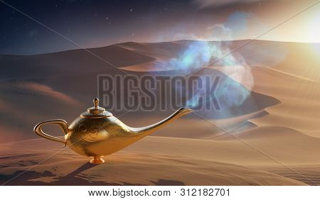 Magical Aladdin Oil Lamp With Genie In Desert. 3d Rendered Illustration.