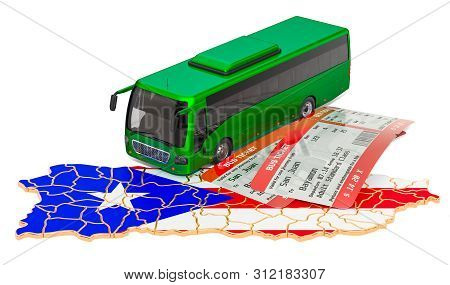 Bus Travel In Puerto Rico, Concept. 3d Rendering Isolated On White Background