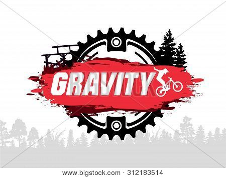 Extreme Mountain Biking Design. Downhill, Freeride, Slopestyle, Enduro. Jumping On Bike. Gravity Mtb