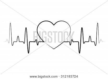 Heart Beat Monitor Pulse Line Icon For Medical Apps And Websites.red Blood Pressure, Cardiogram, Hea