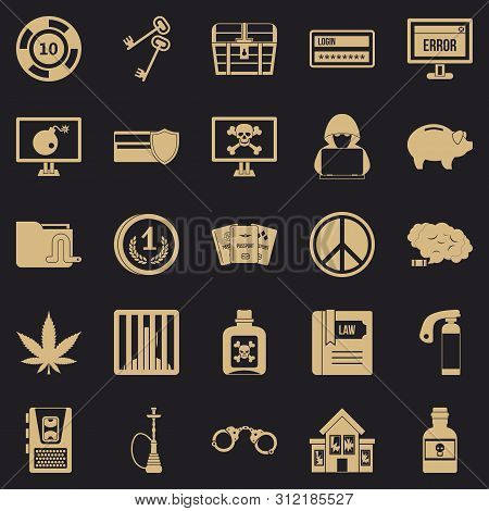 Offence Icons Set. Simple Set Of 25 Offence Icons For Web For Any Design