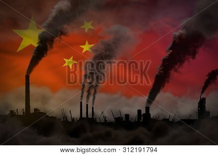 Dark Pollution, Fight Against Climate Change Concept - Factory Chimneys Heavy Smoke On China Flag Ba