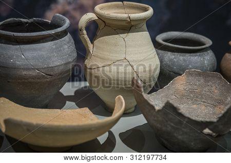 Jaen, Spain - December 29th, 2017: Iberian Clay Pieces At Iberian Museum Of Jaen