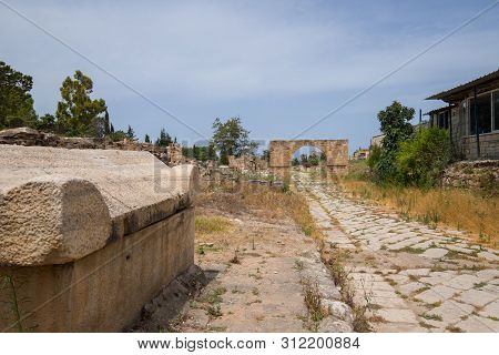 A Sarcophagus And The Byzantine Road. Al-bass Tyre Necropolis. Roman Remains In Tyre. Tyre Is An Anc