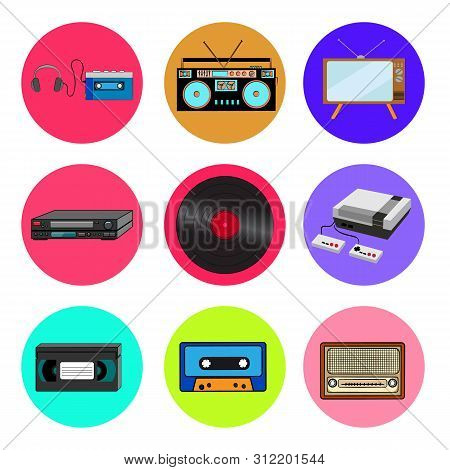 Set Of Trendy Retro Old Cool Hipster Vintage Round Icons From 70s, 80s, 90s Cassette Music Player, A