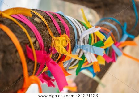 Wish Tree With Many Multicolour Ribbons Tied On Its Bole, Close Up View. Photographed In Crimea. Sel