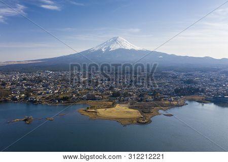 Aerial View Of Mt Fuji And Kawaguchiko In Japan