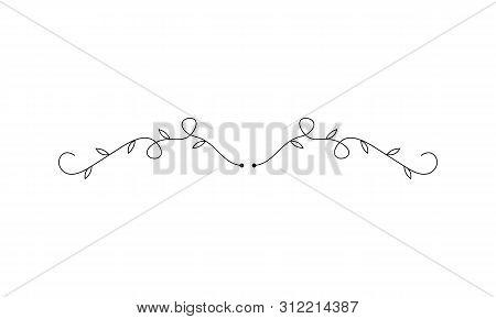 Flower Ornament Dividers. Hand Drawn Vines Decoration, Floral Ornamental Divider And Sketch Leaves O