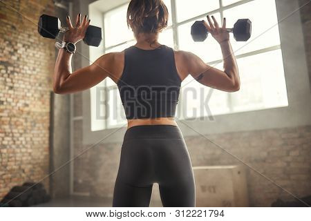 Great Workout. Back View Of Young Athletic Woman In Sportswear Exercising With Dumbbells While Stand