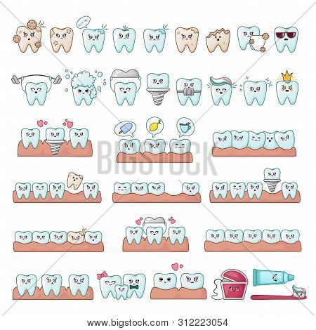 Set Of Kawaii Teeth, Dentistry Tools, Implants, With Different Emodji, Cute Cartoon Characters - Tre