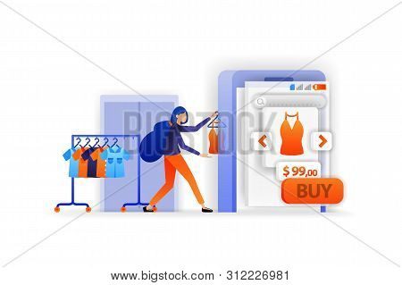 Sell In Online Marketplace. Display Clothes For Sale. Mobile Shopping Apps. Online Payment Selling P