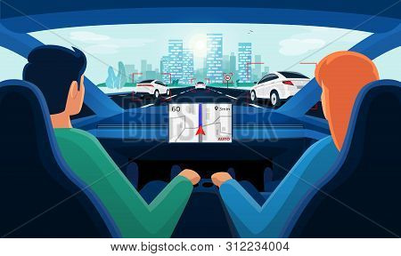 Couple In Self-driving Autonomous Smart Driverless Electric Car On Highway To City. Man And Woman In