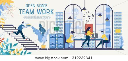 Open Space Coworking Office Adapted For Business Teamwork Flat Vector Ad Banner With Busy Businesspe