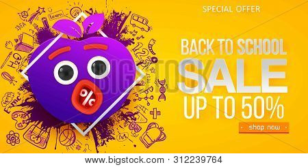 Back To School Sale Apple Symbol With Fun Monster Face, Eyes And Mouth, Hand Drawn Doodle Icons On Y