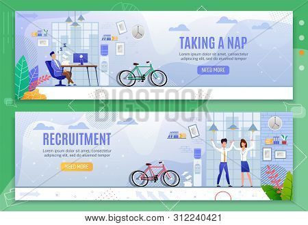 Taking Nap And Recruitment Header Banners Set. Male Clerk Asleep At Desk In Coworking Office Procras